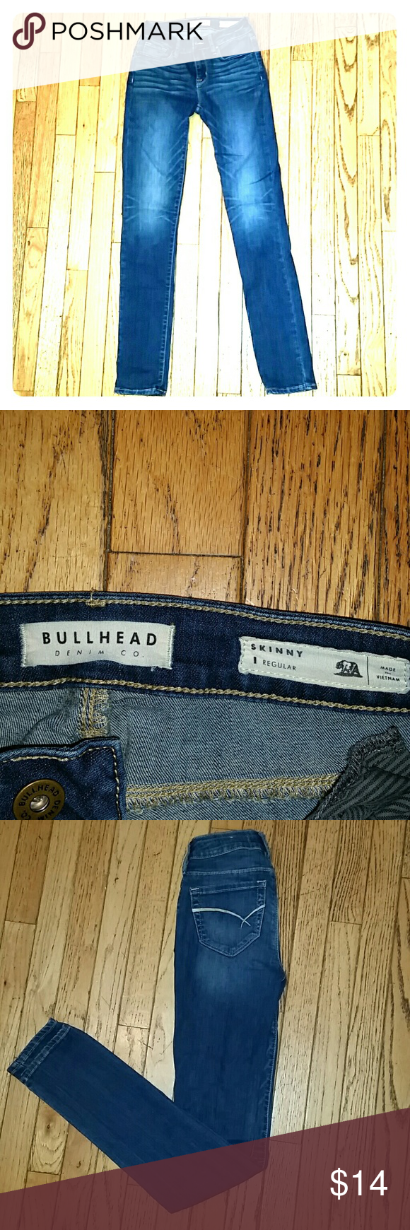 BULLHEAD denim co. skinny jeans Size 1 regular.  78 % cotton 21% polyester 1% spandex Great condition.  Fits to me more like a 0 than 1. Bullhead Jeans Skinny