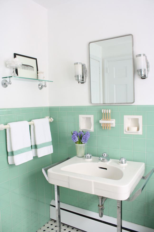 See Jane Design A Vintage Style Green And Pink Tile Bathroom For Her 1939 Brick Colonial House Pink Bathroom Tiles Green Bathroom Retro Bathrooms