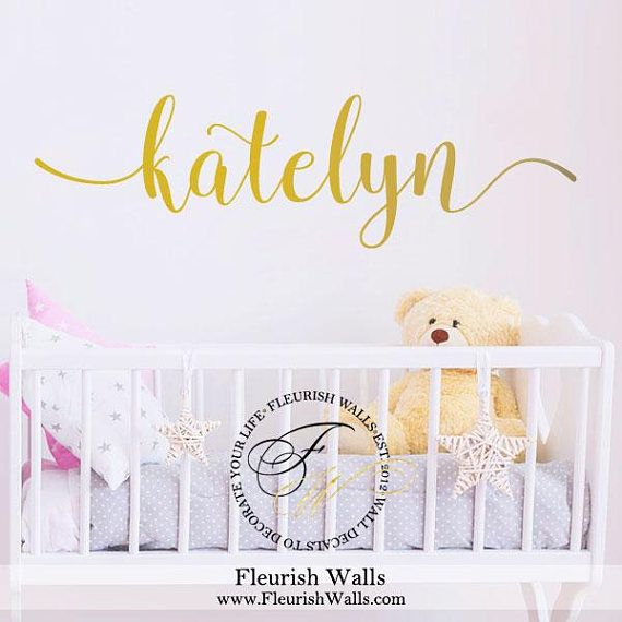 Custom wall decal name gold vinyl sticker for girl nursery decor personalized wall decal