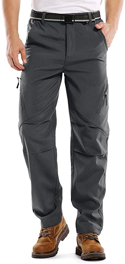 Outdoor Snow Ski Fishing Fleece Lined Insulated Soft Shell Winter Pants Jessie Kidden Mens Waterproof Hiking Tousers