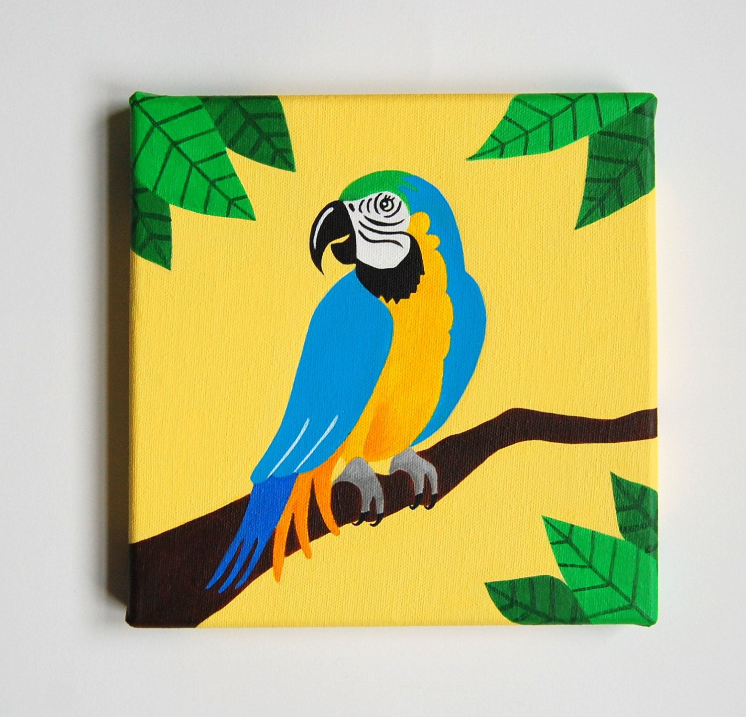 Blue and Gold Macaw painting, Parrot art, Tropical Bird Nursery ...
