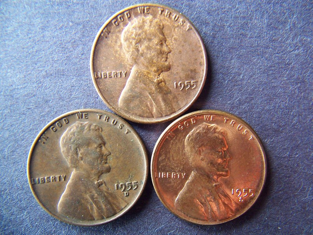 1955 P-D-S Red/Brown Lincoln Wheat Cent Set of 3 Cents