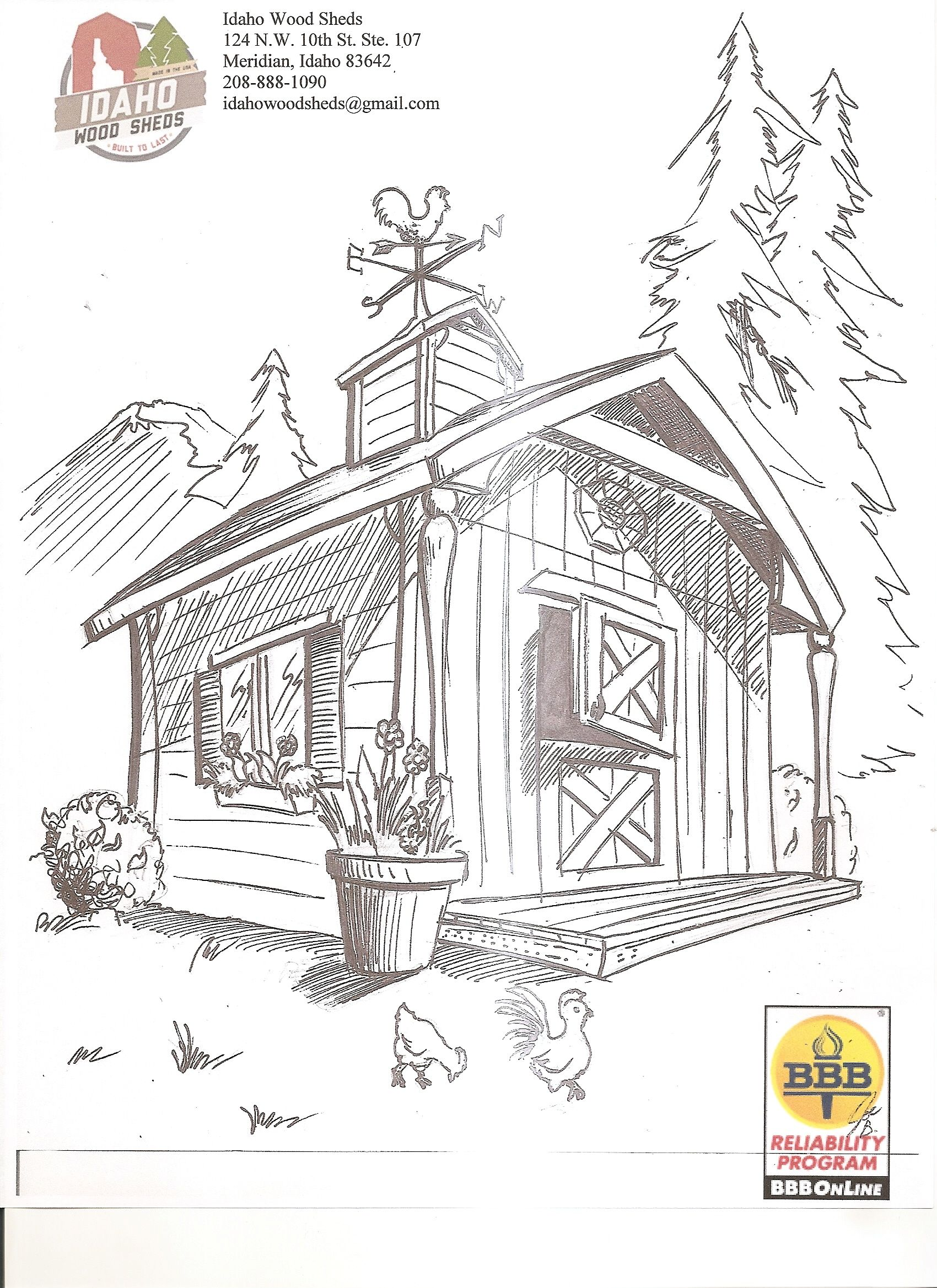 scenic coloring pages idaho wood sheds free printable color page