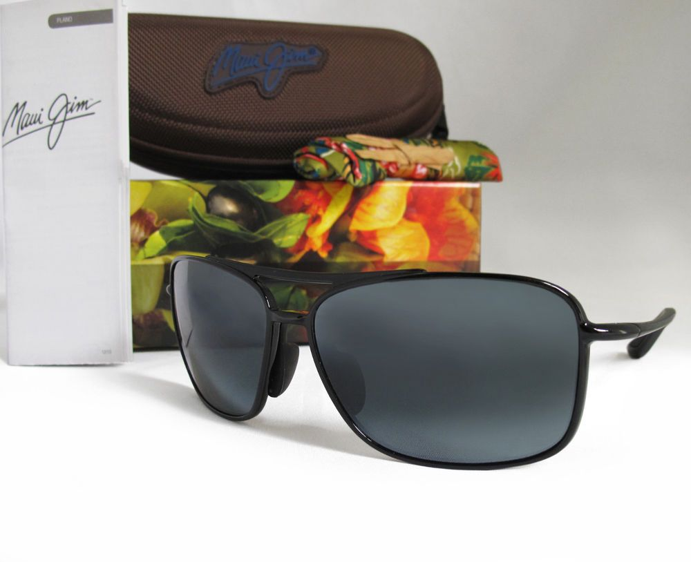 ec1052246f New Maui Jim Kaupo Gap Gloss Black   Neutral Grey Polarized Sunglasses  437-02