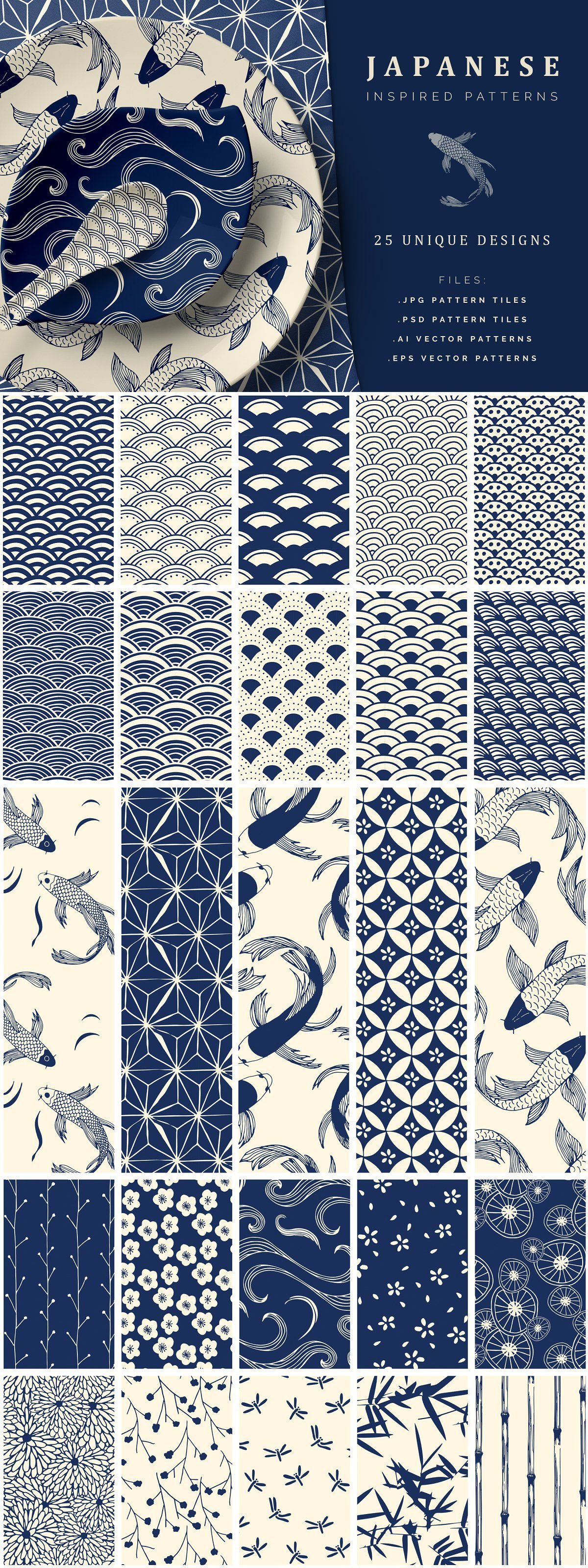 Hand Drawn Japanese Patterns