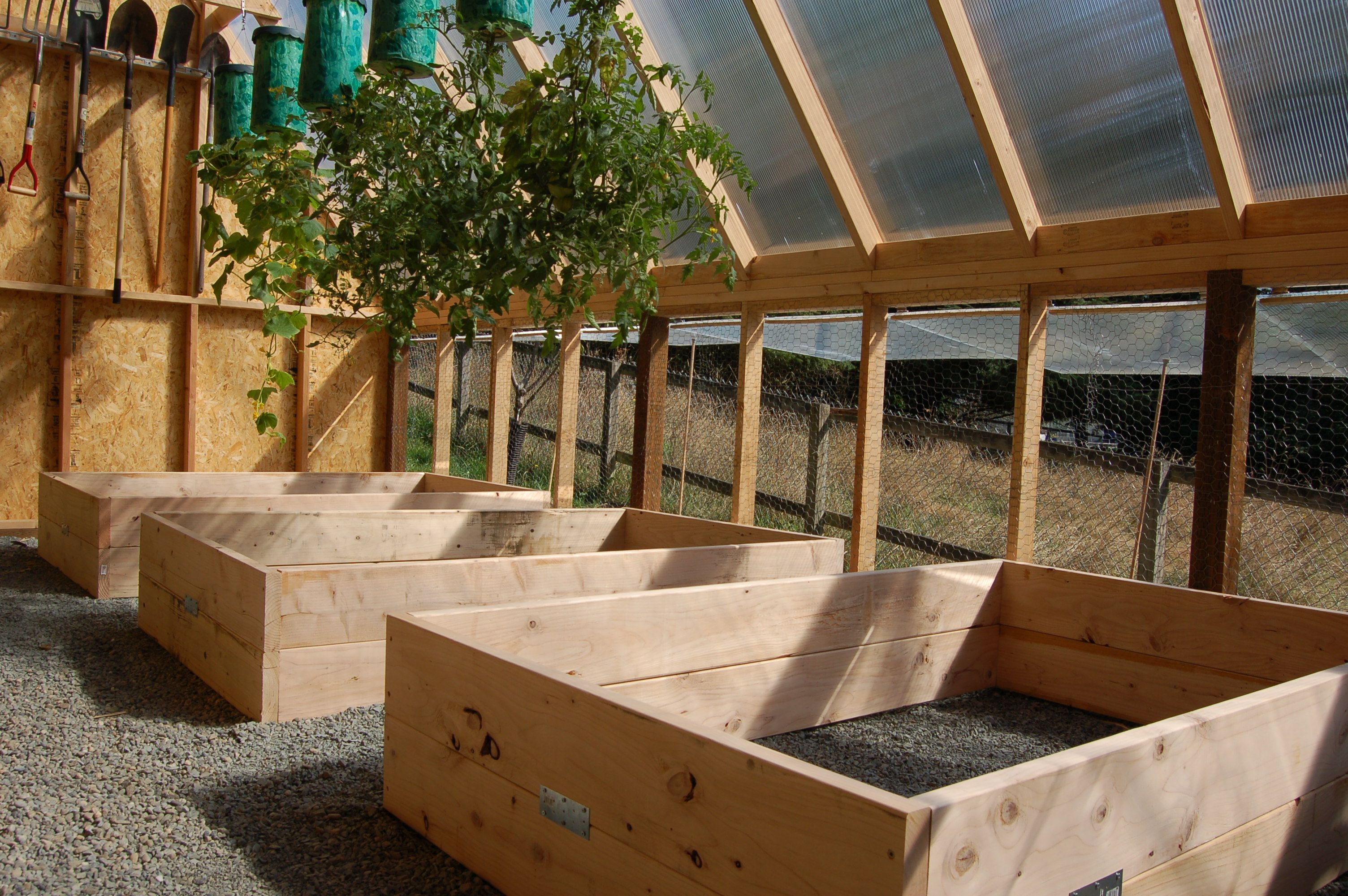 Winterized raised bed greenhouse free green house plans - What to put under raised garden beds ...