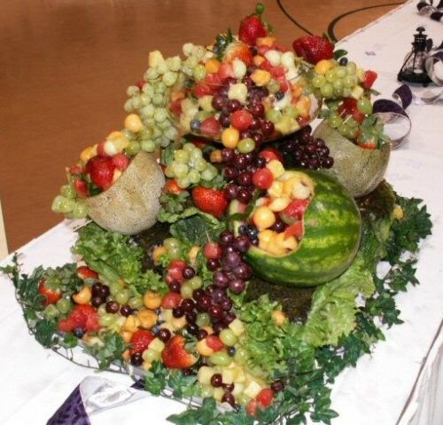 Elaborate Fruit Centerpiece For Reception Our fruit centerpieces are ...