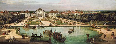 schloss nymphenburg von der gartenseite gem lde von bernardo bellotto genannt canaletto 1761. Black Bedroom Furniture Sets. Home Design Ideas