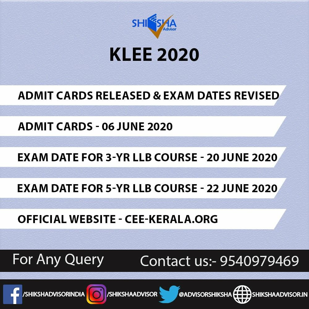 Klee 2020 Exam Date Revised Exam Entrance Exam Cbt