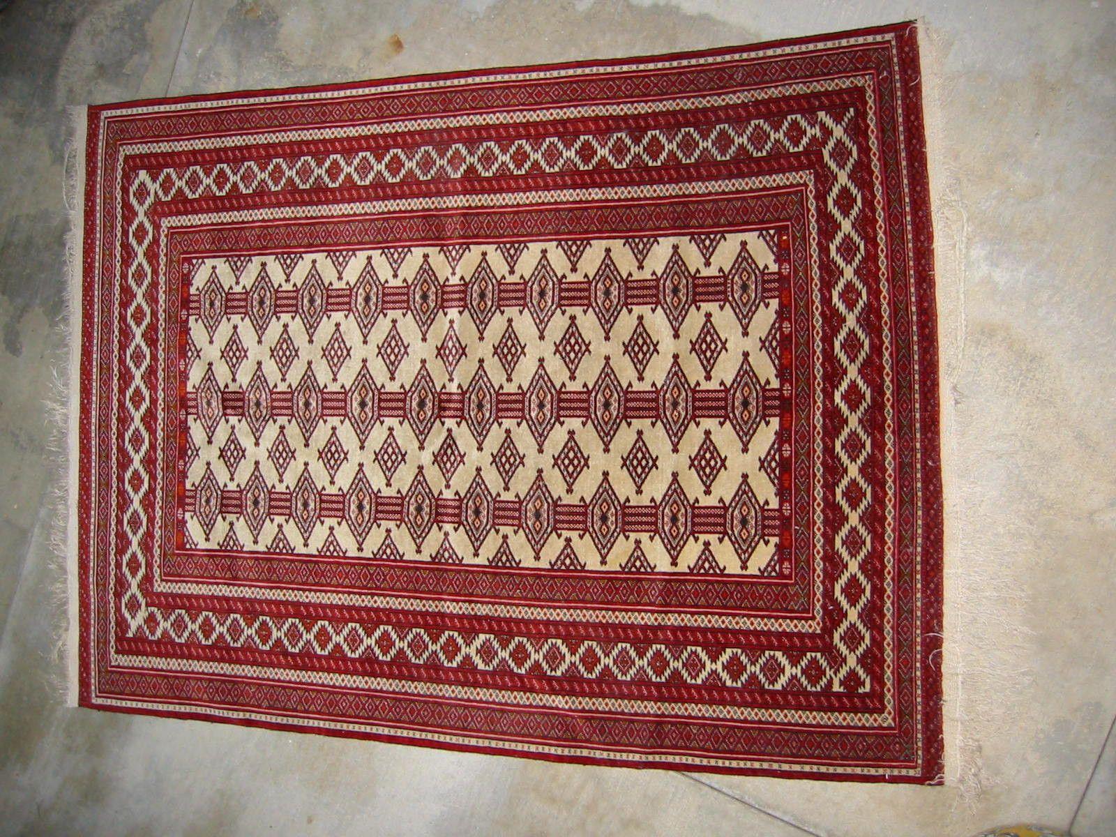 Caucasian Torkaman Wool Hexagonal Geometric Rug