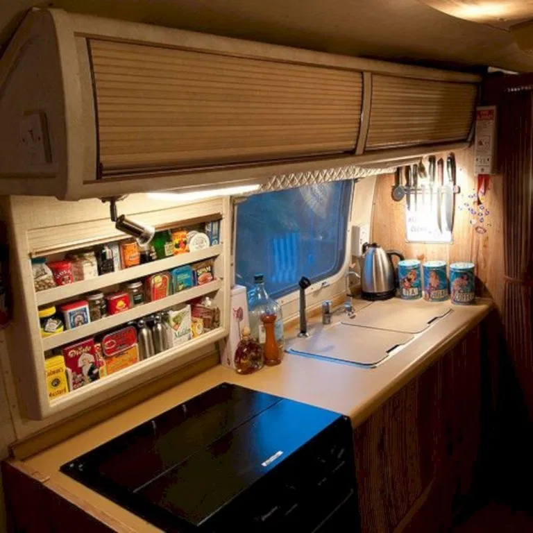40 Best And Comfortable Camper Storage Ideas For Your Holiday Decor Gardening Ideas Camper Kitchen Rv Kitchen Organization Kitchen Shelving Units