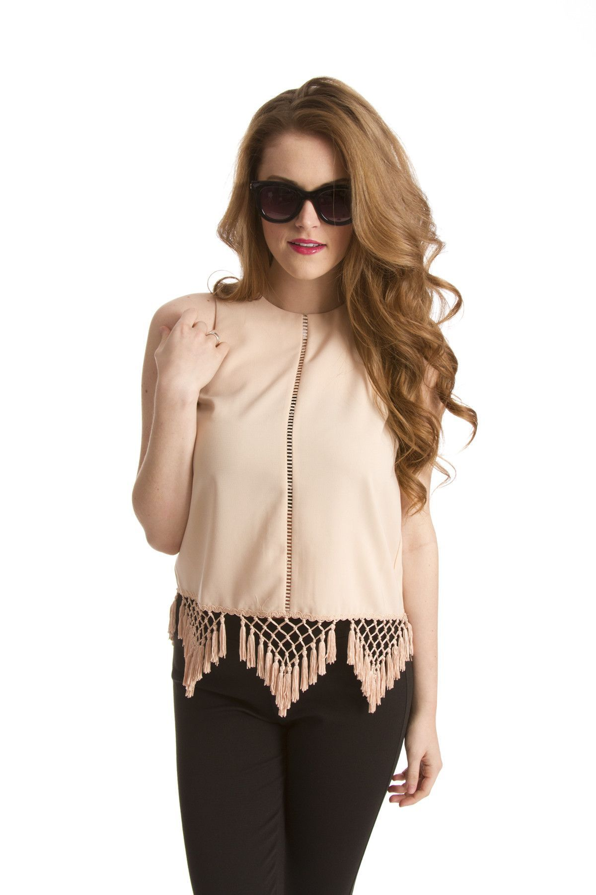 Women's Top- Dress Top w/ Tassel Hem
