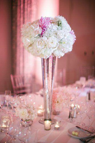 hydrangeas, roses, mercury glass, tall centerpieces, blush ...