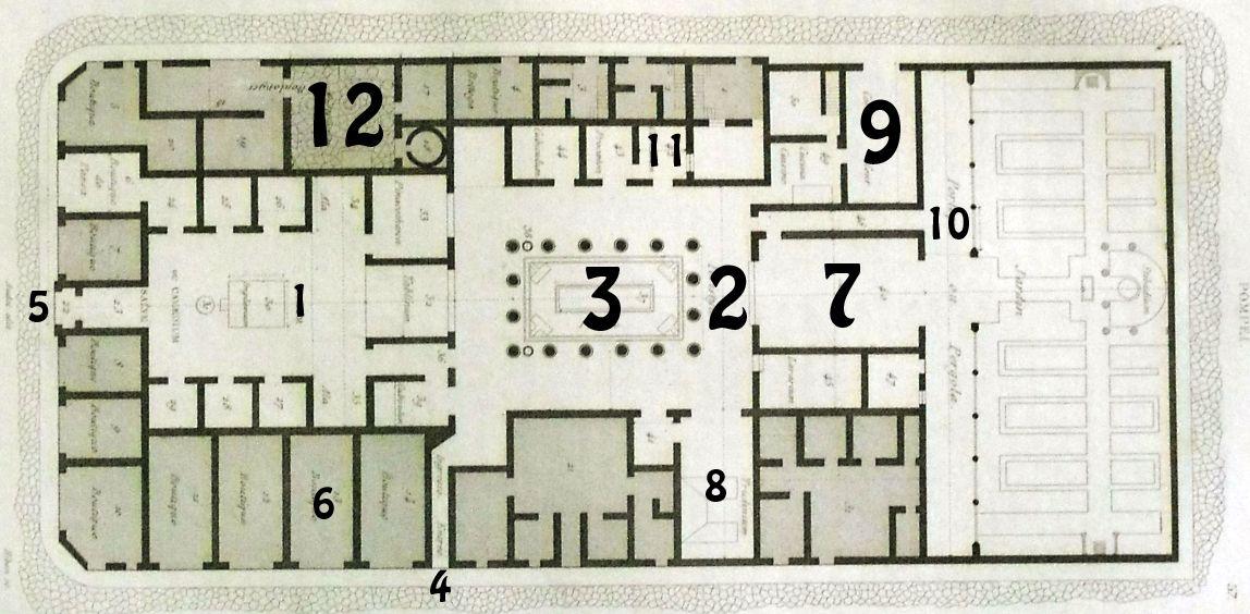 PIANTA DELLA CASA DI PANSA A POMPEI 1 Atrium, 2 Peristylium, 3 ...