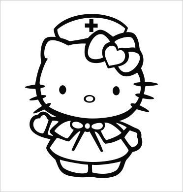 hello kitty nurse vinyl die cut decal sticker 500 black - Kitty Doctor Coloring Pages