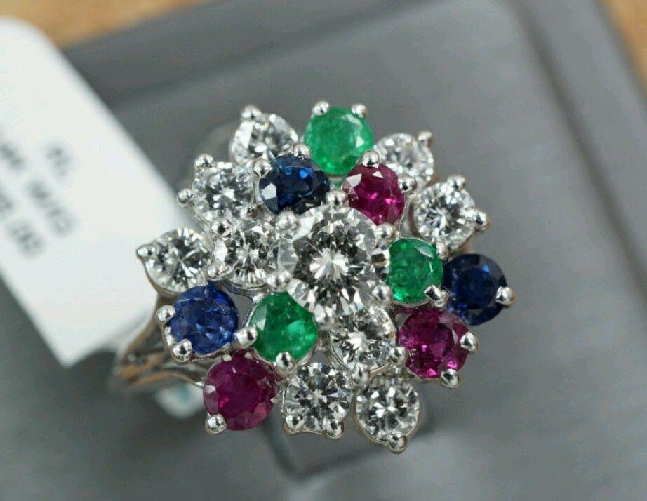 14 Karat White Gold, Diamond, Ruby, Sapphire & Emerald 2.25 Carat Cocktail Ring. #Handmade #Cocktail