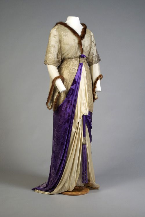 Mink Trimmed Evening Gown with Silver Lace and Satin Grounded Velvet, ca. 1912-14  via KSMU