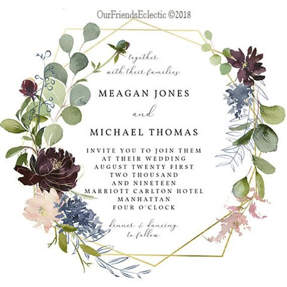 Free Electronic Wedding Invitations Templates: Geometric Floral Wedding Invitation Template, Editable