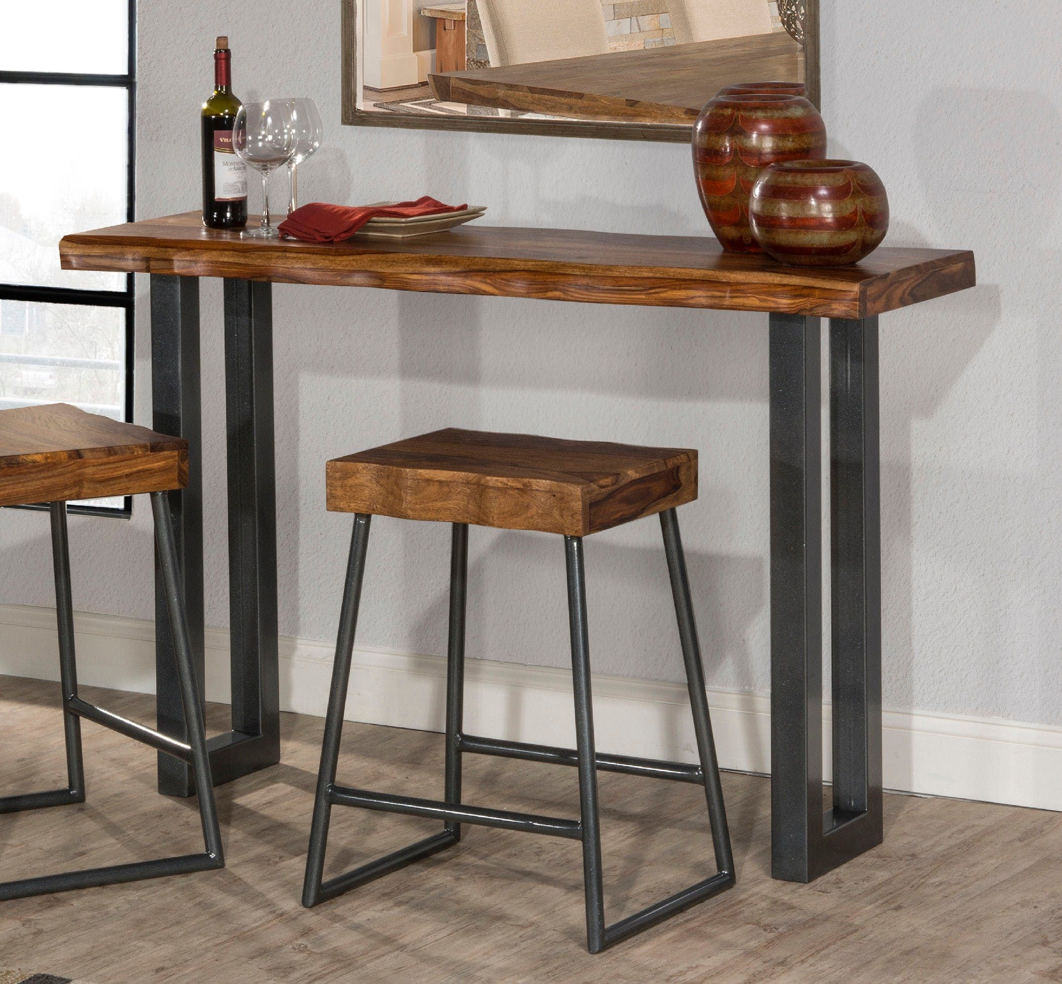 Ideal For Small Spaces Is The Emerson Sofa Table With Non Swivel Stools Gray Metallic U Shaped Legs Bring Out Th Wood Sofa Table Sofa Table Table Behind Couch