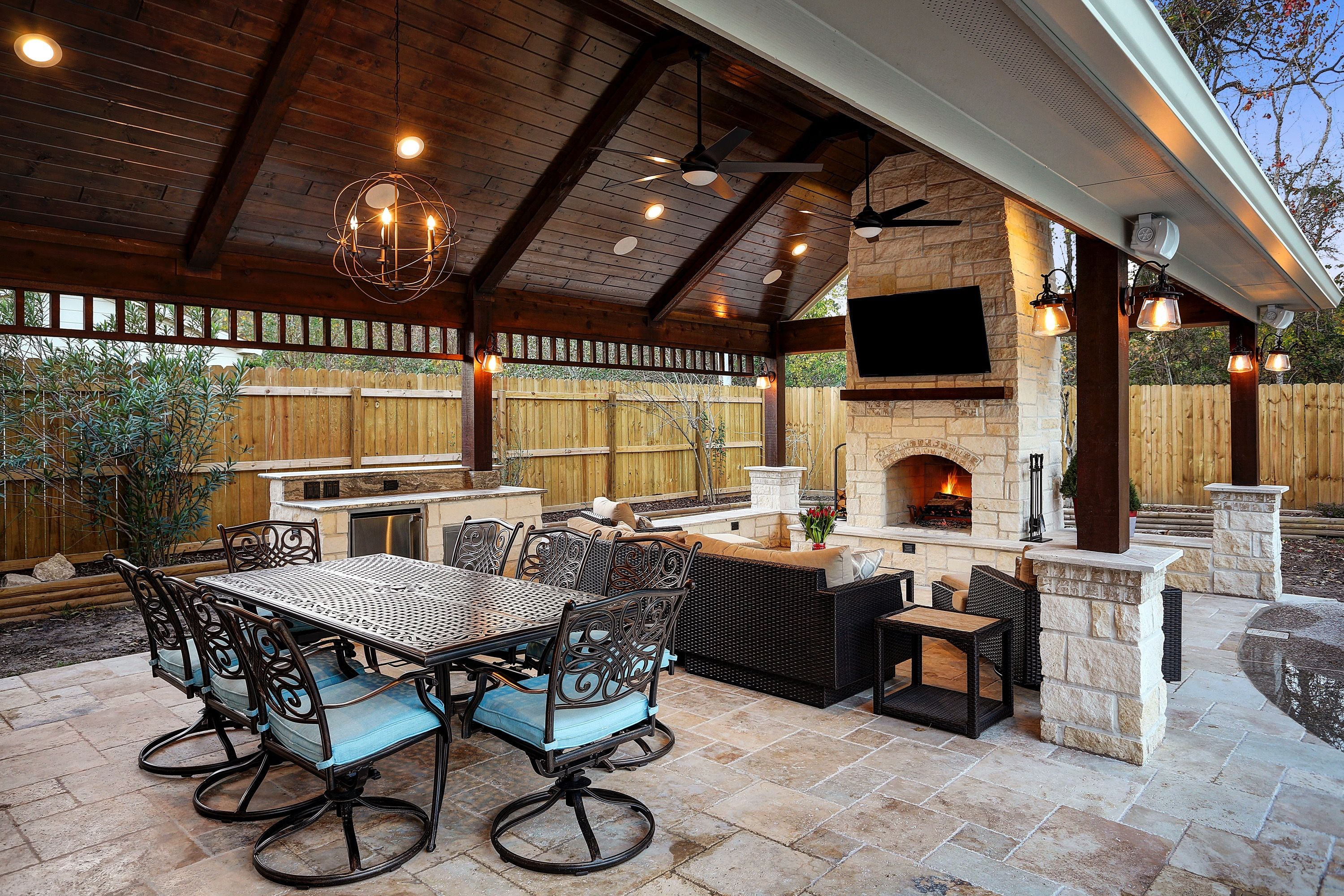 Gable Roof Patio Cover With Fireplace Kitchen And