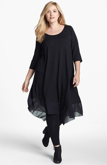 Eileen Fisher Chiffon Trim Scoop Neck Dress (Plus Size) available ...