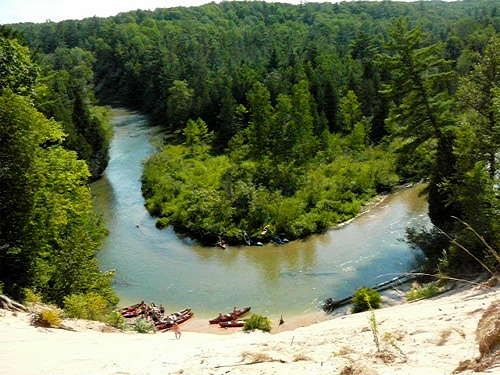 View from the top of the sand dune on the Pine River in the