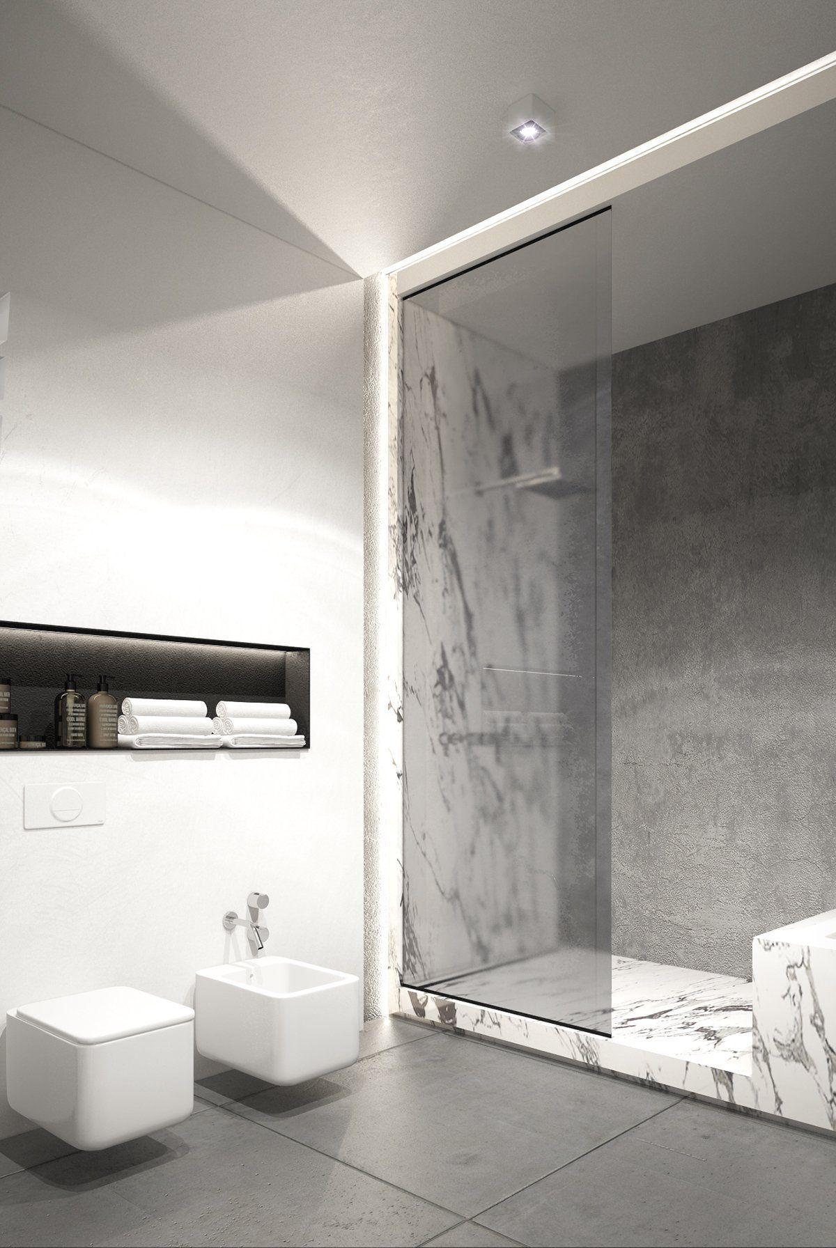 Exposed concrete walls ideas inspiration ideas for interior pinterest salle de bain for Exposed concrete walls interior