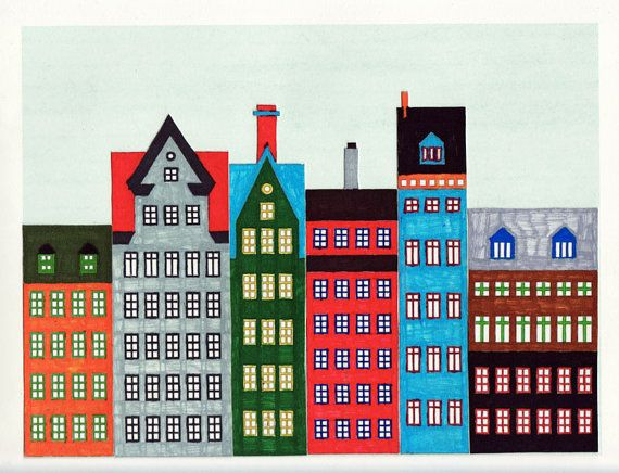 DIY Scandinavian Buildings and Houses Printable by annasee on Etsy, $4.00