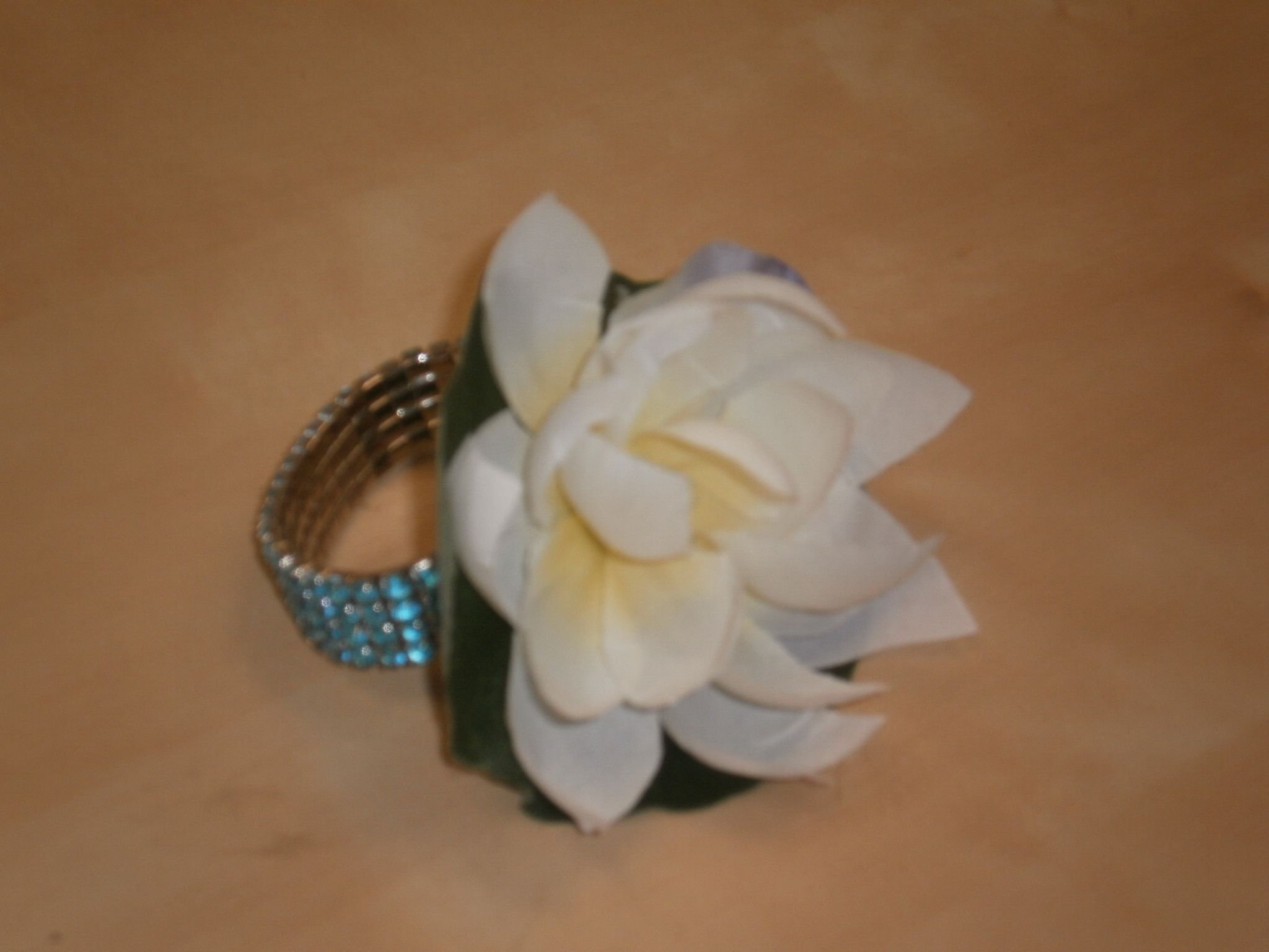 Silk Flower Corsage Lotus Blossom And Lily Pad On A Turquoise