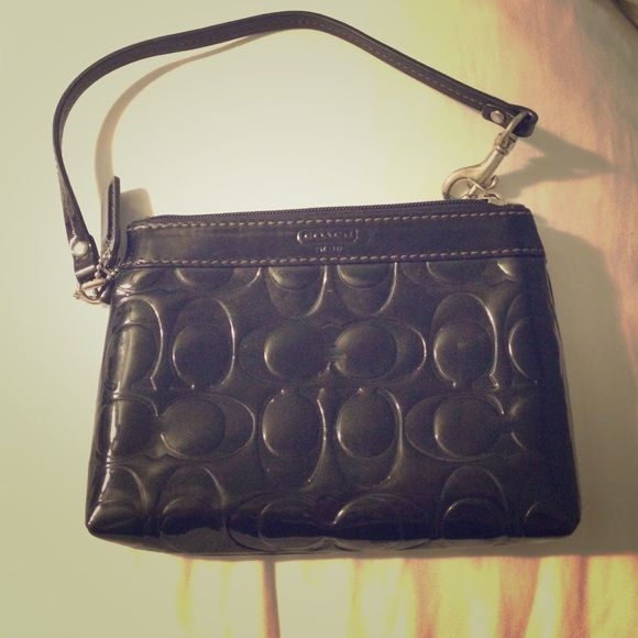 Coach Wristlet Black Patent Leather Barely Used Great Shine Bags