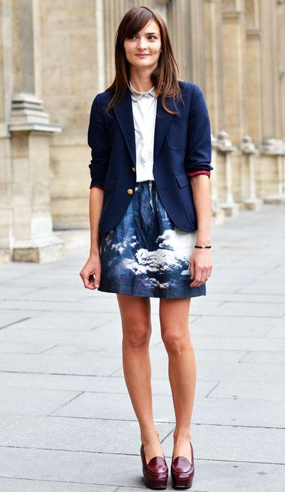 Love the graphic skirt with the jacket