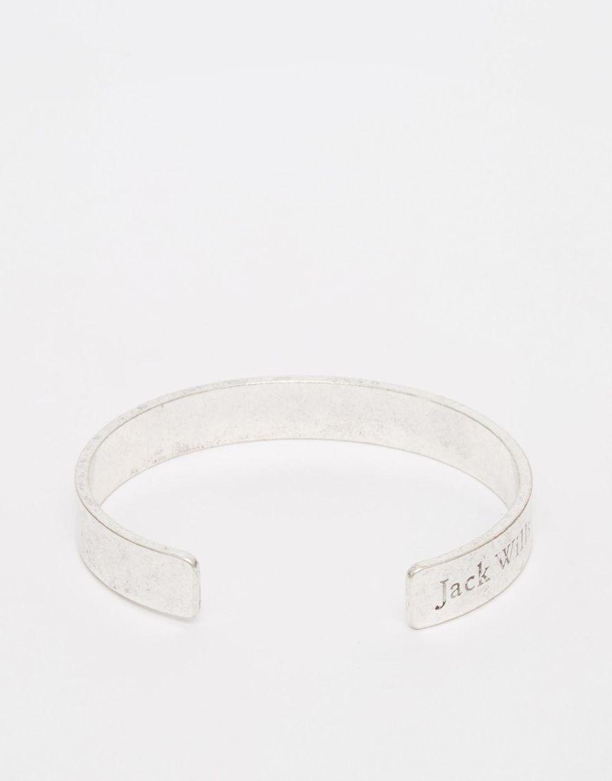 Armband von Jack Wills silberfarbene Optik glatter Ring Markenlogo-Gravur offene Enden zum Überziehen 100% Kunststoff
