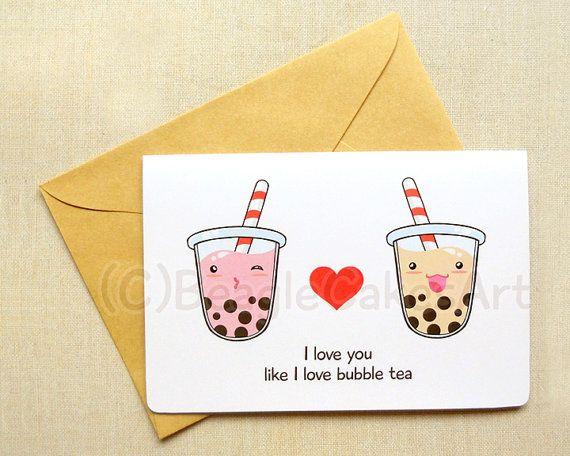Tapioca Bubble Tea Notecard: Kawaii Boba By BeagleCakesArt On Etsy