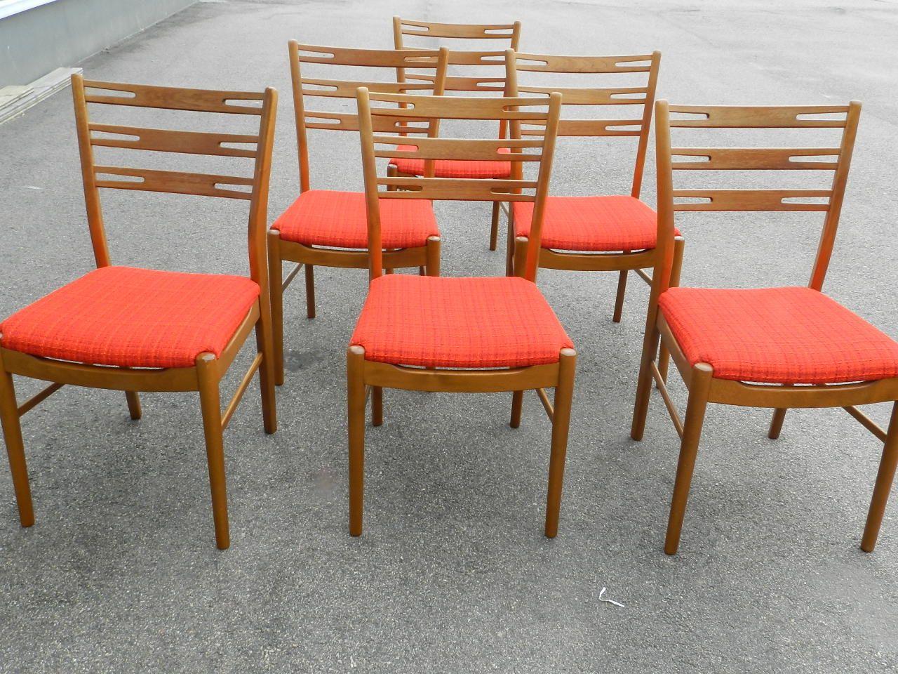 6 st retro stolar i mörk teak med ceriseröd originalklädsel