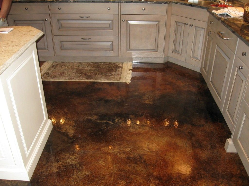 stained concrete floors kitchen. wood kitchen cabinets stained