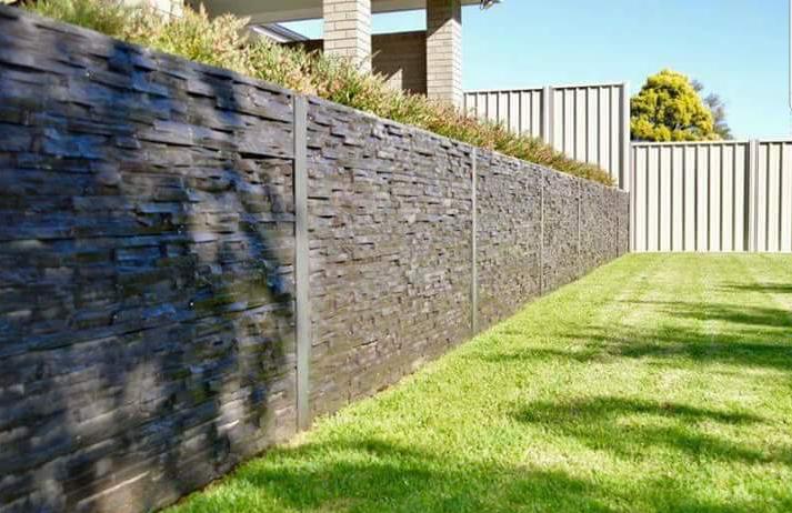 Stacked Stone Style Concrete Sleeper Retaining Wall Concrete Sleeper Retaining Walls Retaining Wall Concrete Sleepers