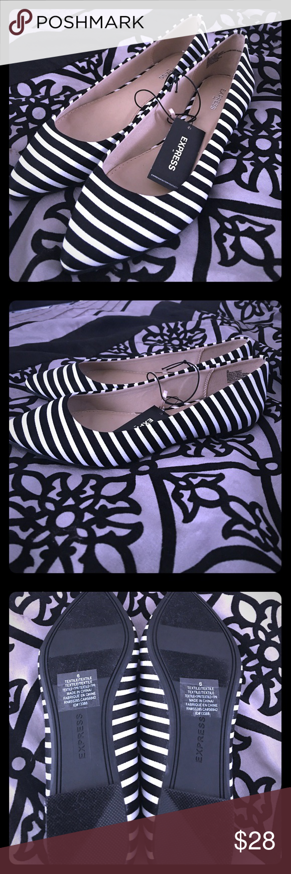 Express pointed flats super cute black and white pointed toe flats