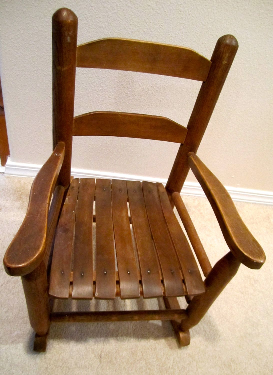 Natural Wood Childs Rocker Vintage Slated Seat From Early 1960 S