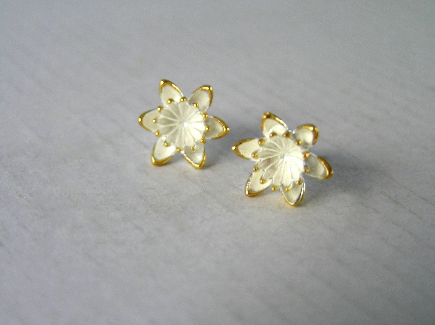 Sterling Silver Flower Stud Earrings Water Lilly Lotus Botanical Jewelry