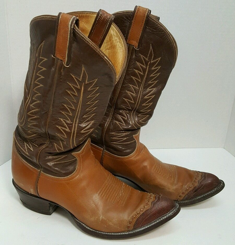 e86d744bb4b Details about NICE!! Tony Lama Mens Western Cowboy Boots Leather Two ...