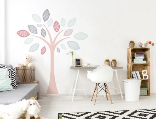 Kinderzimmer Pastell Baum als moderne Wandtattoo Deko Idee