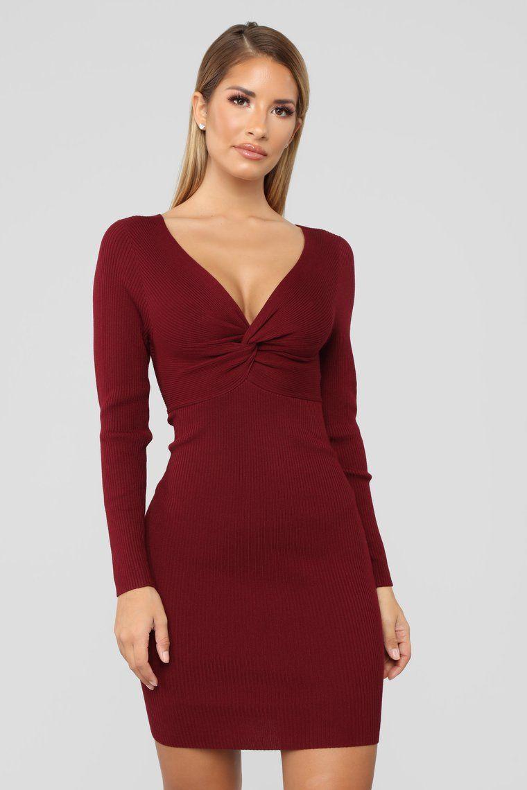 Do knot let me go sweater dress burgundy sweater dress