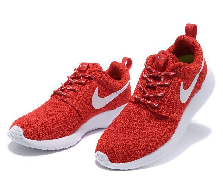 Breathable nike roshe run red white mens running shoes