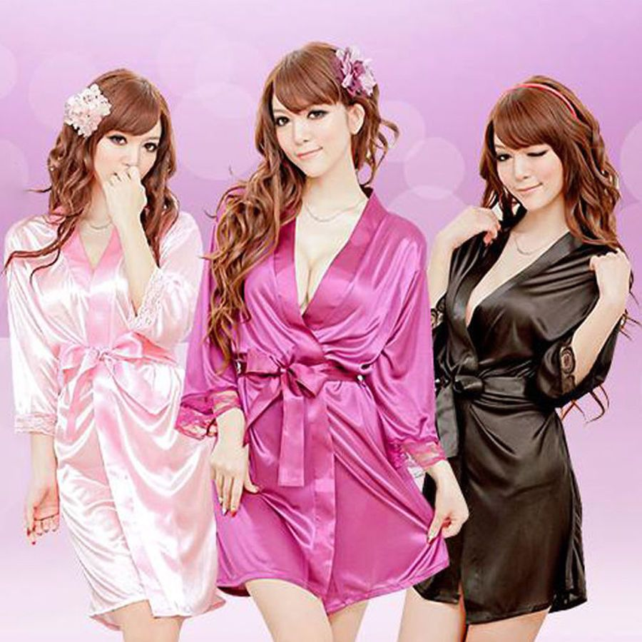 c318bff689 Women s Silk Satin Robe Bride Bridesmaid Dress Wedding Kimono Bathrobe  Sleepwear Satin Robe Bride