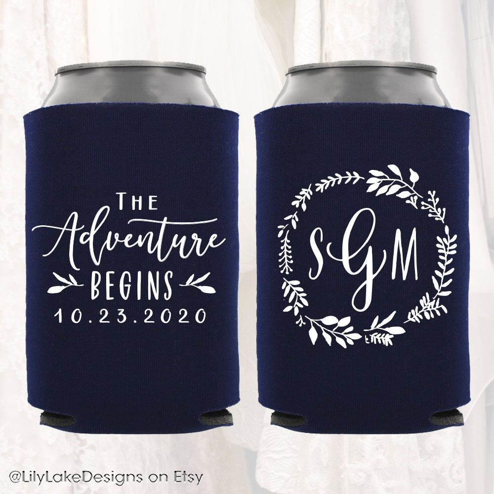 Personalized Wedding Can Coolers | The Adventure Begins | Customized Wedding Favors | Beverage Insulators, Beer Drink Huggers | Monogram #personalizedwedding