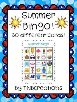 Summer Bingo Summer Bingo School Party Games End Of Year Party