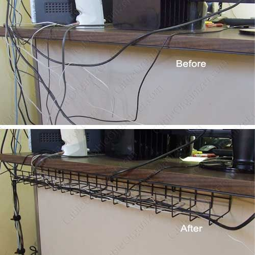 Under Desk Cable Tray Before And After Icon