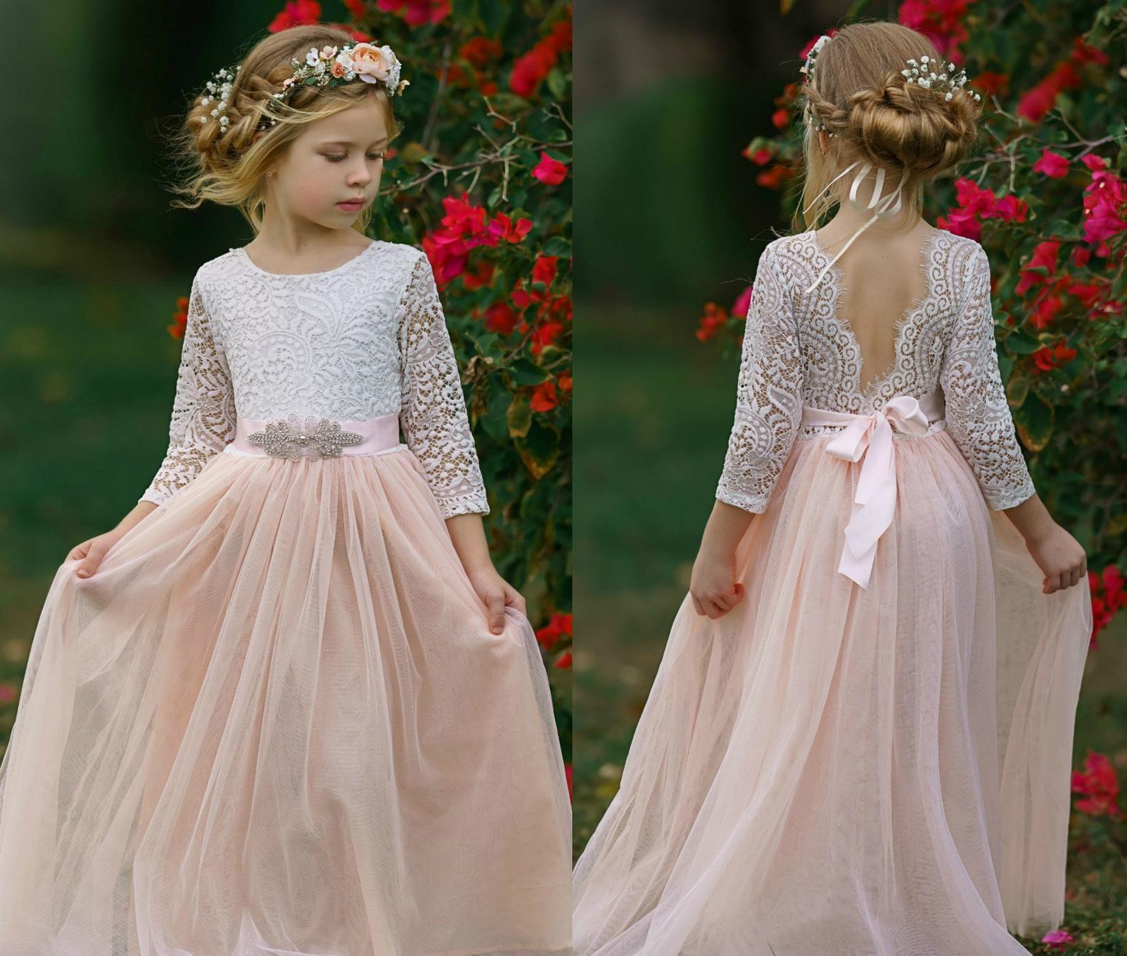 Blush tulle flower girl dress white lace flower girl dress