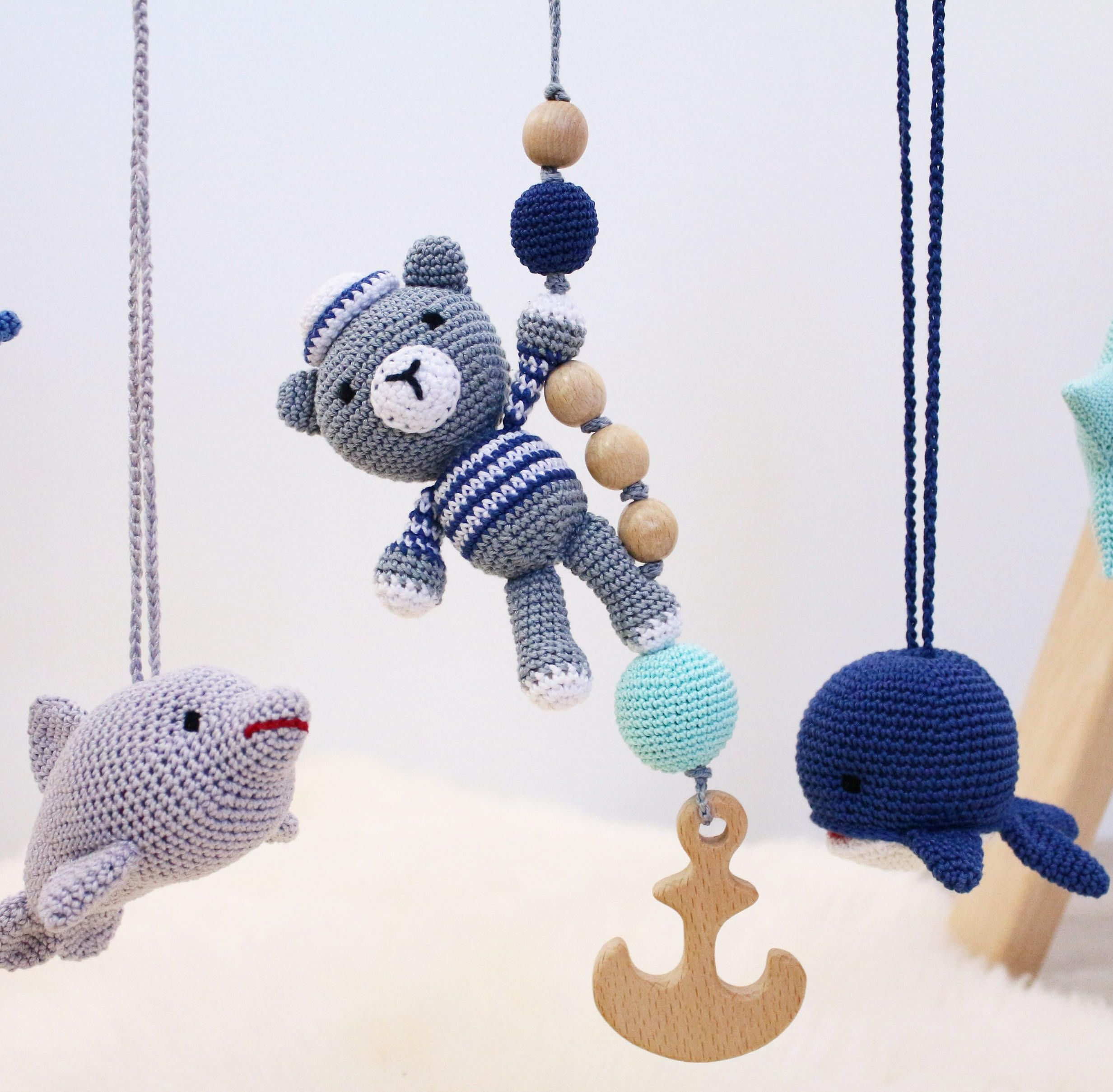 Bear the sailor baby gym toy crochet baby rattle with wooden