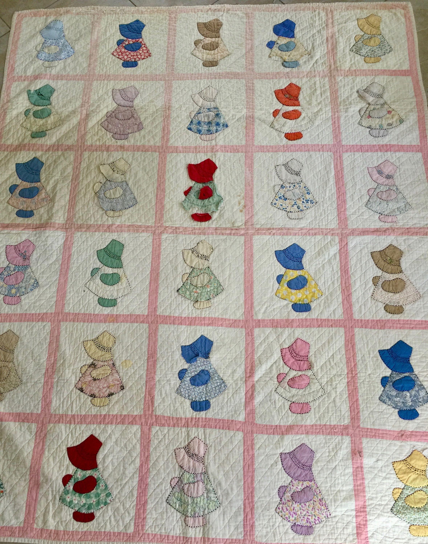 Vintage Sun Bonnet Sue Hand Quilted Twin Size Quilt Vintage Quilt Sun Bonnet Sue Quilt Hand Quilted Quil Vintage Quilts Tshirt Quilt Pattern Butterfly Quilt